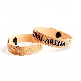 Cork bracelets with text and logo