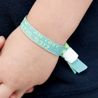 child safety wrist band kids ID infoband reuseable wristband party holiday