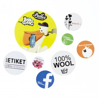 Round stickers with your own text and picture